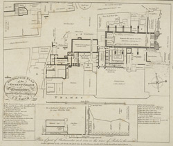 Foundation plan of the ancient Palace of Westminster measured, drawn & engraved by I. T. Smith